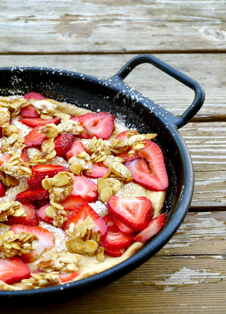 strawberry souffle omelet in a pan