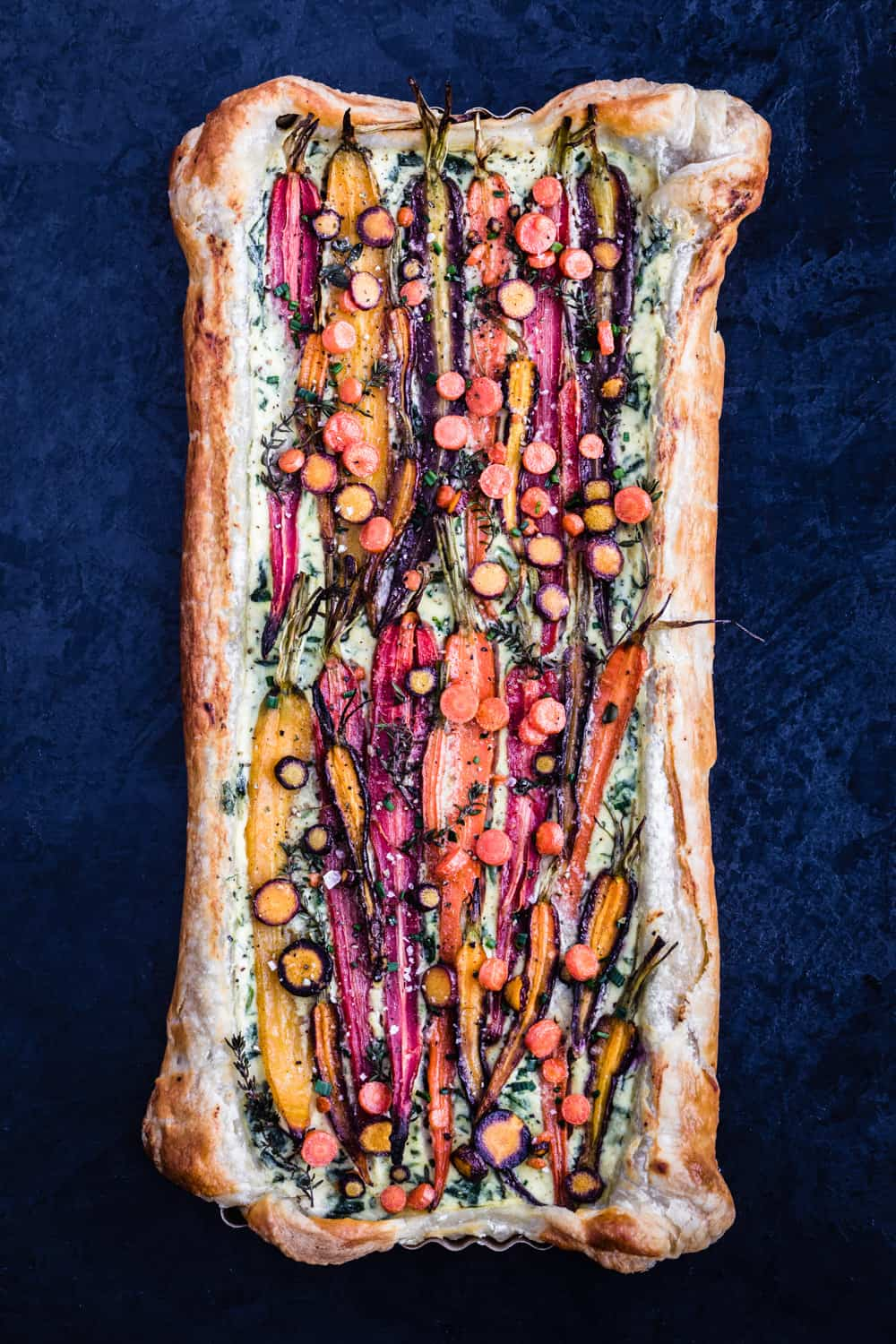 Colorful carrot tart, view from top