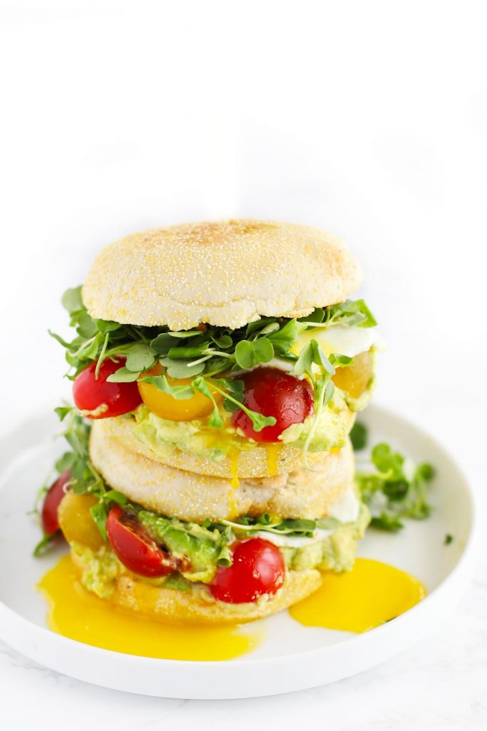 Yellow, red and green breakfast sandwich