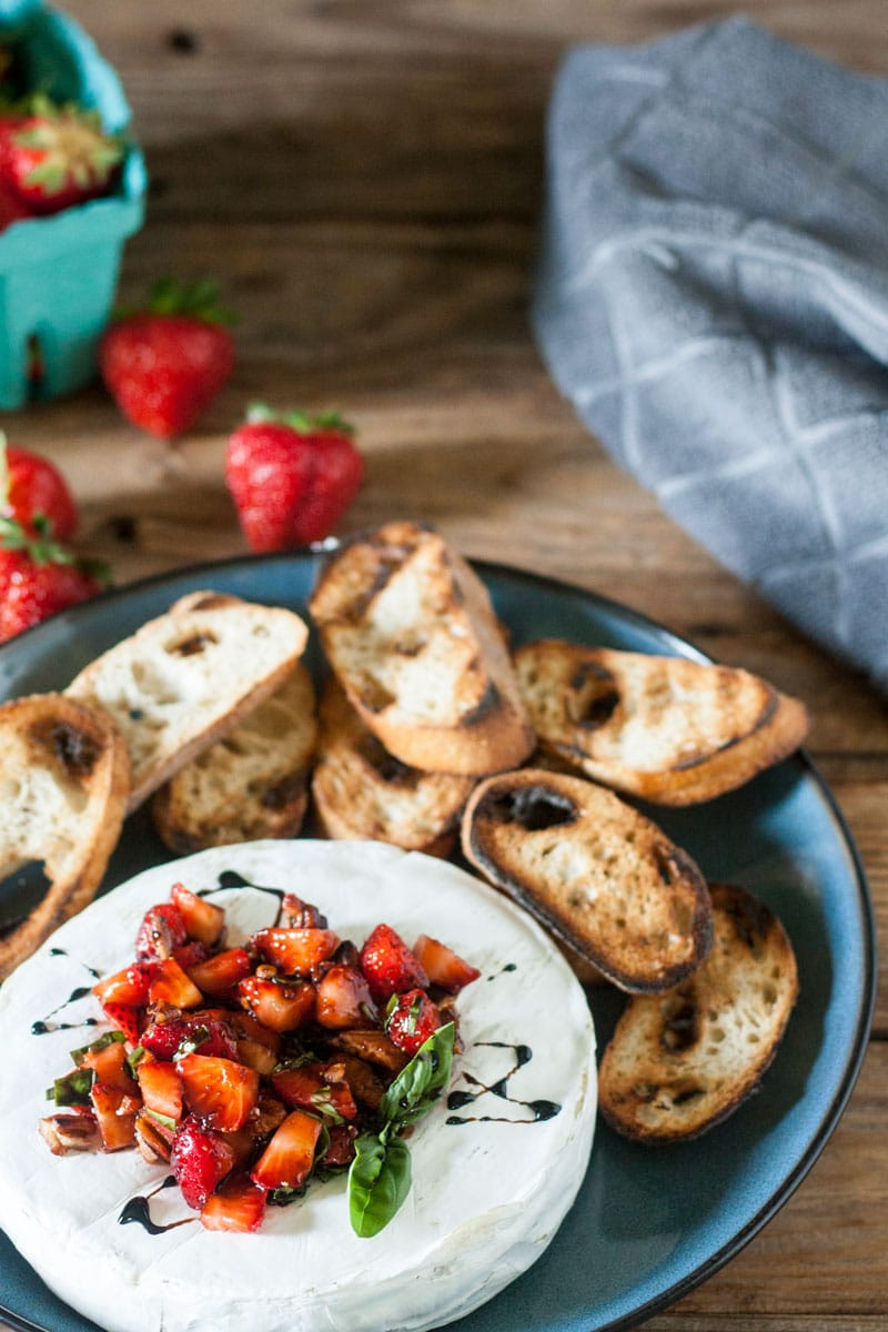 Grilled Brie Appetizer, served with strawberries