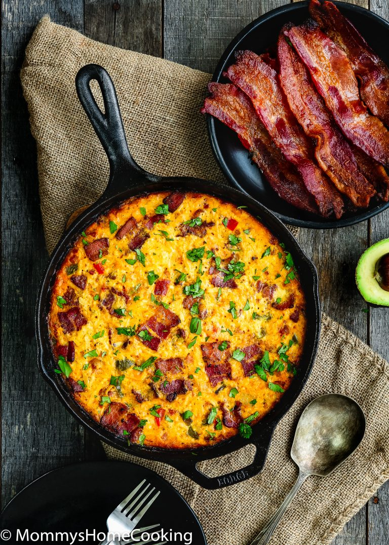 Meat Lovers Breakfast Skillet, served with extra bacon on a side