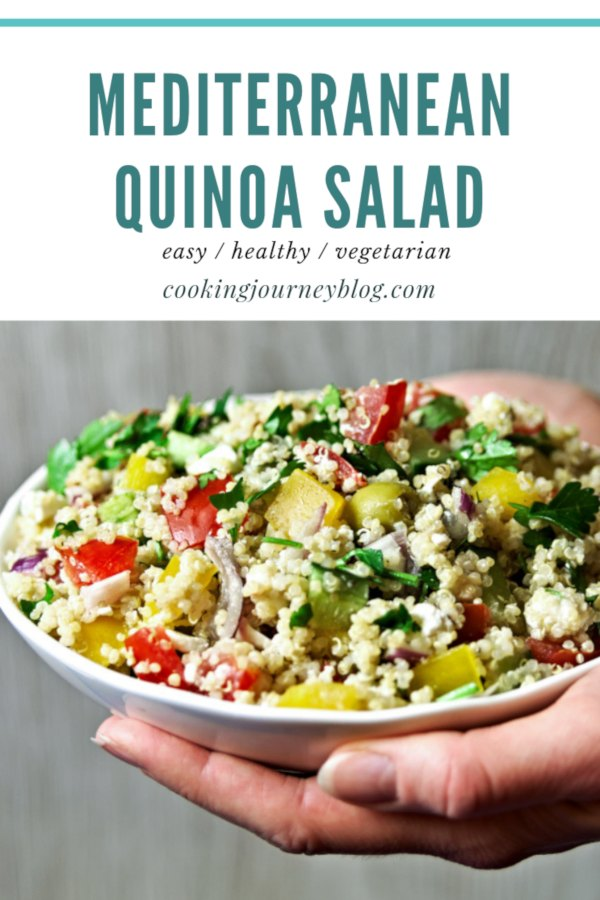Easy and healthy Mediterranean quinoa salad. Delicious summer recipe, perfect for lunch or BBQ party!