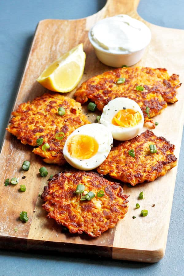 Rosti, served on a board with eggs