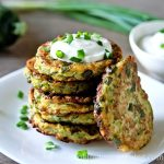 Easy zucchini fritters with scallions and Greek yogurt