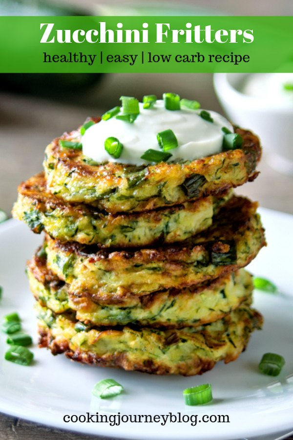 Easy and healthy zucchini fritters are our family favorite zucchini recipe! This low carb cheesy zucchini snack is perfect for breakfast, served with Greek yogurt. Simple ingredients, ready in less than 30 minutes!