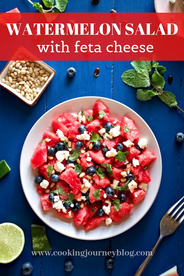 Watermelon salad with feta, mint is one of the best vegetarian summer lunch ideas. Perfectly balanced, this easy healthy salad recipe is fresh and delicious, it can be served as a side or for lunch. Gluten-free meal that is made in less than 10 minutes!