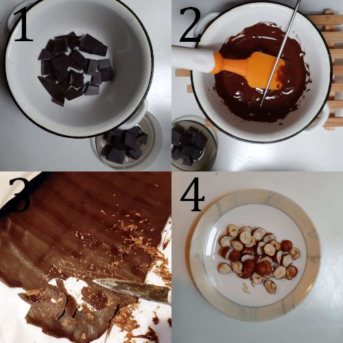 Making tempered chocolate decoration for banoffee pie