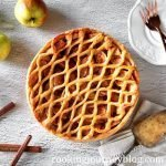 Traditional Dutch apple pie recipe with pie crust on top.