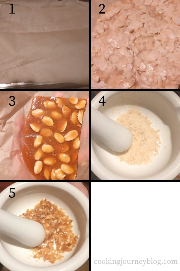 How to make praline crumbs- step by step instructions