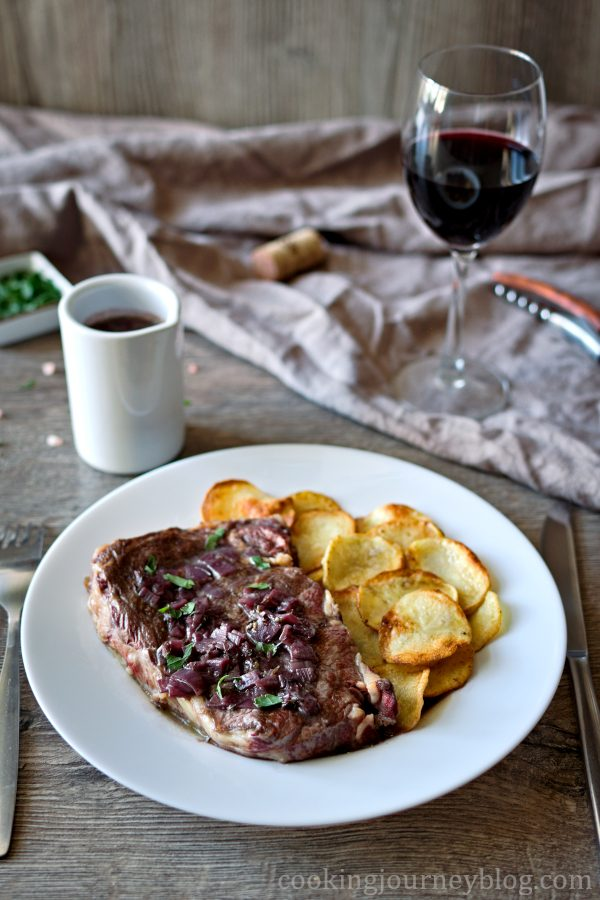 Red Wine Sauce Steak, served with red wine