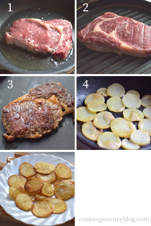 How to cook steak and potatoes on a skillet step by step
