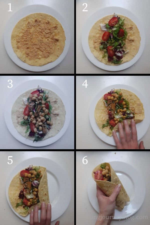 How to fold wraps with tofu filling - steps 1-6