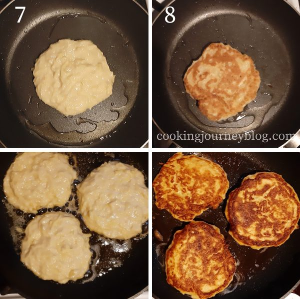 Frying boxty potato pancakes on a pan