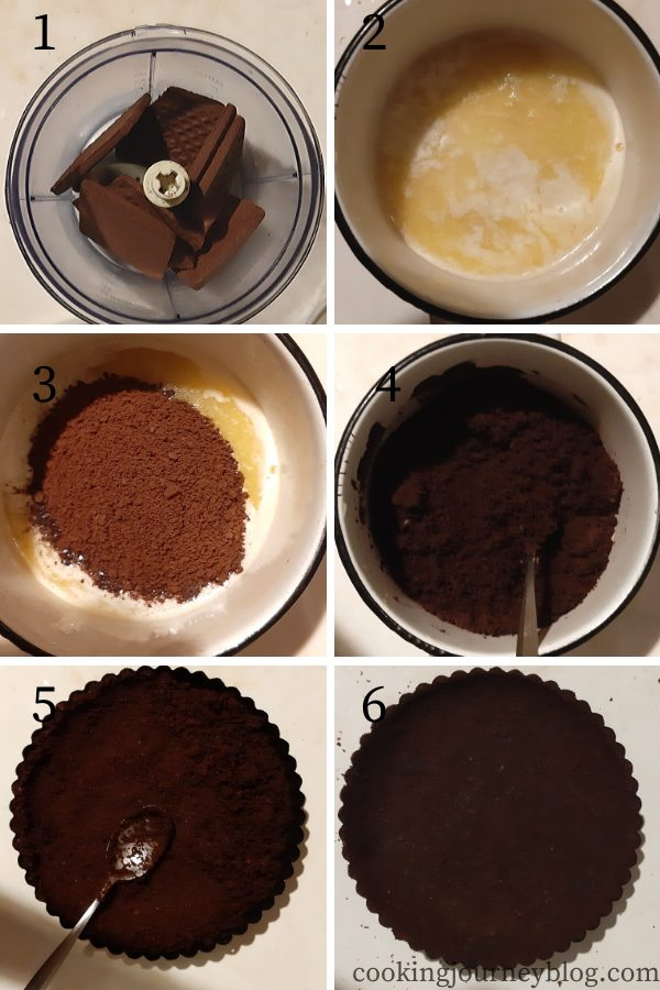 How to make a no bake chocolate crust for lemon tart - step by step instructions