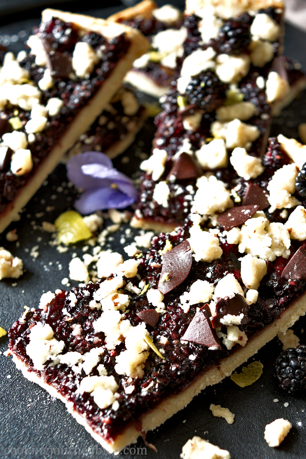 Crunchy Blackberry Pie Bars decorated with chocolate and lemon zest