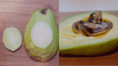 Place one half of avocado with the hole up. Slightly cut the bottom of avocado so it can stand straight. Put 1/4 mushrooms in the hole of avocado, where the pit was.
