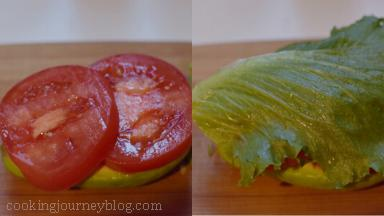 Put 2 slices of tomato, then a salad leaf on top (tier the leaf, if it's too big).