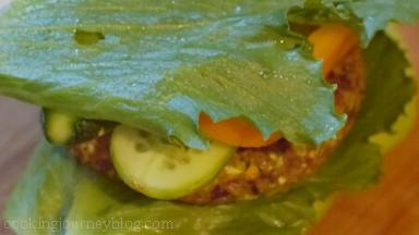 Then put 1 iceberg salad leaf on top.