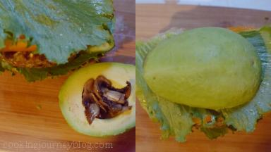 Add another part of mushrooms in avocado hole and cover the burger. Slightly press the burger.