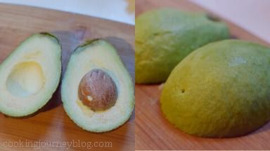 Cut avocados in half, remove the pit and skin.