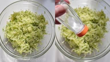 Shred the zucchini, mix it with salt and leave for 20 minutes to let it release the juice.