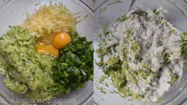 Mix zucchini with cheese, egg and chopped scallions. Mix in the flour. Add pepper to taste.