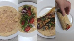Heat the tortilla wrap, smear sesame paste, add salad leaves, cherry tomatoes cut in half and tofu mixture.