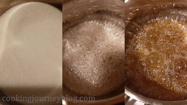 Put sugar and water in a pan, covered with a glass lid. Simmer on the low heat until the sugar caramelizes and is golden.*