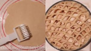 From the other half of the dough, form the round and roll it. Using the pastry decorater knife make decoration, or cut the 1/2 inch lines and place them on top of the pie. You can also roll the dough, make few holes with small cookie cutters and place the round on top of the pie. Press the decoration to the sides of the pie.