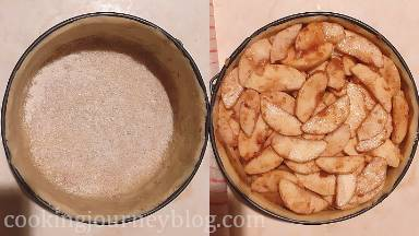 Sprinkle semolina on the bottom of the pie and place apples, leaving the juices in the bowl. Apples should be filled to the top of the pan.