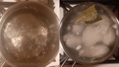 Bring water with salt to boil, add chicken breasts and bay leaves. Reduce the heat, cover with a lid and cook 15 minutes. Remove from heat and let it steam 6 minutes more.