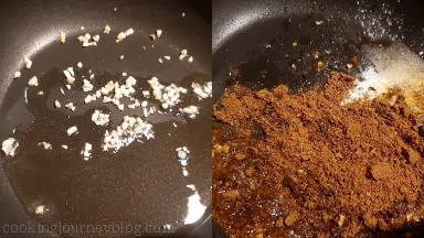 While chicken is steaming, start making enchilada sauce. Heat oil in a saucepan. Add minced garlic, cook 1 minute, stirring. Then add cornflour and all spices. Cook, stirring for 1 minute until aromatic.