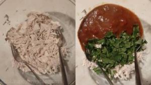 Transfer cooked chicken to a bowl and shred with two forks. Add 1 cup of enchilada sauce and 3/4 of parsley (cilantro). Combine.