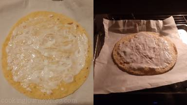 Brush every tortilla with 1 tsp of yogurt on one side and bake about 1 minute (each tortilla separately).