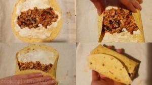 Fill each tortilla with 2 tbs of chicken mixture. Roll enchiladas tightly.