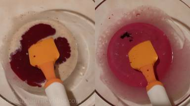 Then add beet juice and combine. Mix in red gel coloring.