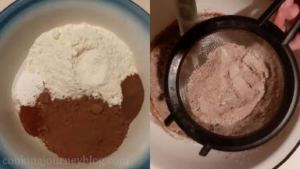 In a big bowl combine all the dry ingredients - flour, cocoa powder, baking powder, salt, chili and instant coffee. Sieve dry ingredients into wet in few batches.