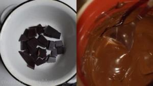 Melt the chocolate on the Bain-Marie (the bowl with chocolate, placed over the heat-proof bowl with boiling water). Then fill the pastry bag or decorating pen with melted chocolate.