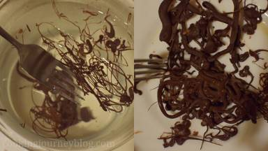 Using the fork, remove the chocolate from the water and place in in one layer on a plate. Put the plate in the fridge.