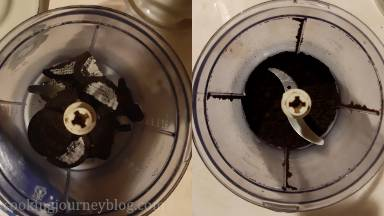 Remove the filling of Oreo cookies and crush them in the food processor. If you don't have a food processor, put them in the bag and crush with the rolling pin.