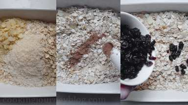 Combine all the dry ingredients – oats, coconut, almond flakes, then add raisins. Mix together, add cinnamon and mix again.