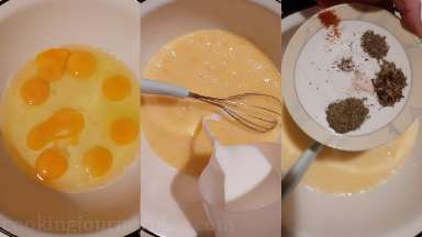Whisk eggs, then add milk and whisk together. Add cayenne, salt, pepper and leave aside.