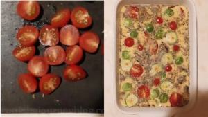 Cut cherry tomatoes in half and distribute on top of frittata.
