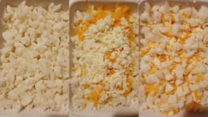 Transfer 1/3 of cauliflower into the baking dish and sprinkle with 1/2 of remaining cheese. Add another 1/3 of cauliflower florets and leftover cheese.
