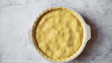 The baking temperature can vary from 350 F / 180 C to 425 F / 220 C depending on the filling of the pie.