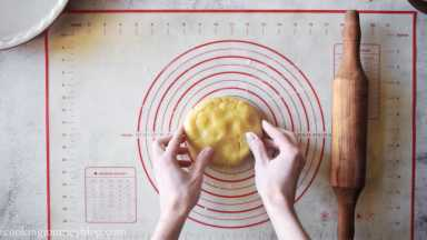 Place the larger disc on prepared flat surface. Sprinkle the surface and dough lightly with flour.
