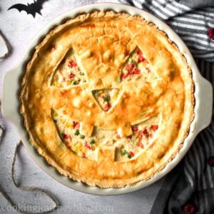 Jack-O'-Lantern Chicken Pot Pie view from top