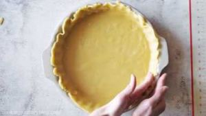 Flatten and press the sides of the crust with your fingers. Don't stretch it. Let it overlap a little.