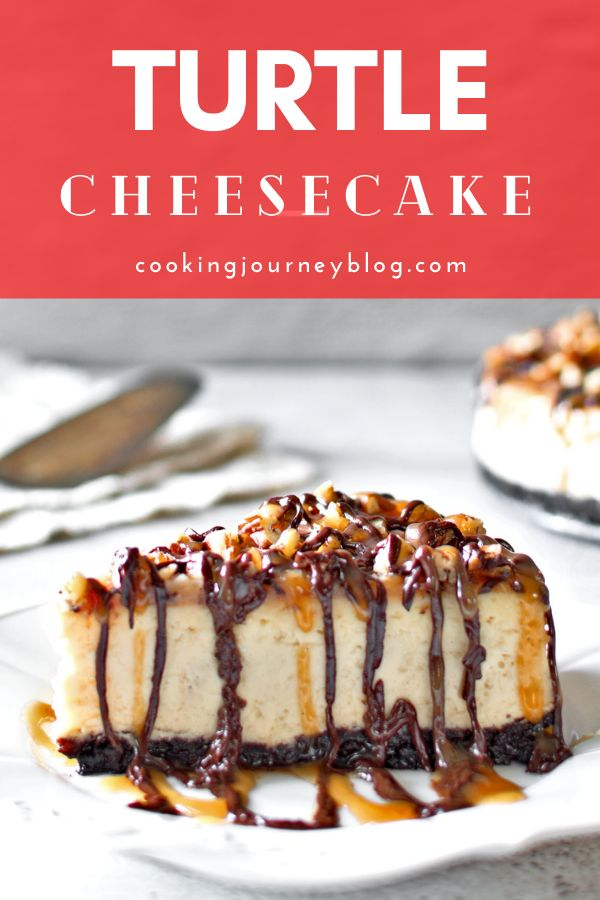 Turtle Cheesecake with delicious caramel sauce, chocolate sauce and pecans. Perfect Thanksgiving and Christmas dessert. One of the the best cheesecake recipes!
