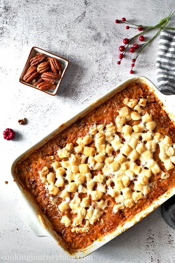 Sweet Potato Casserole with browned Marshmallows on top